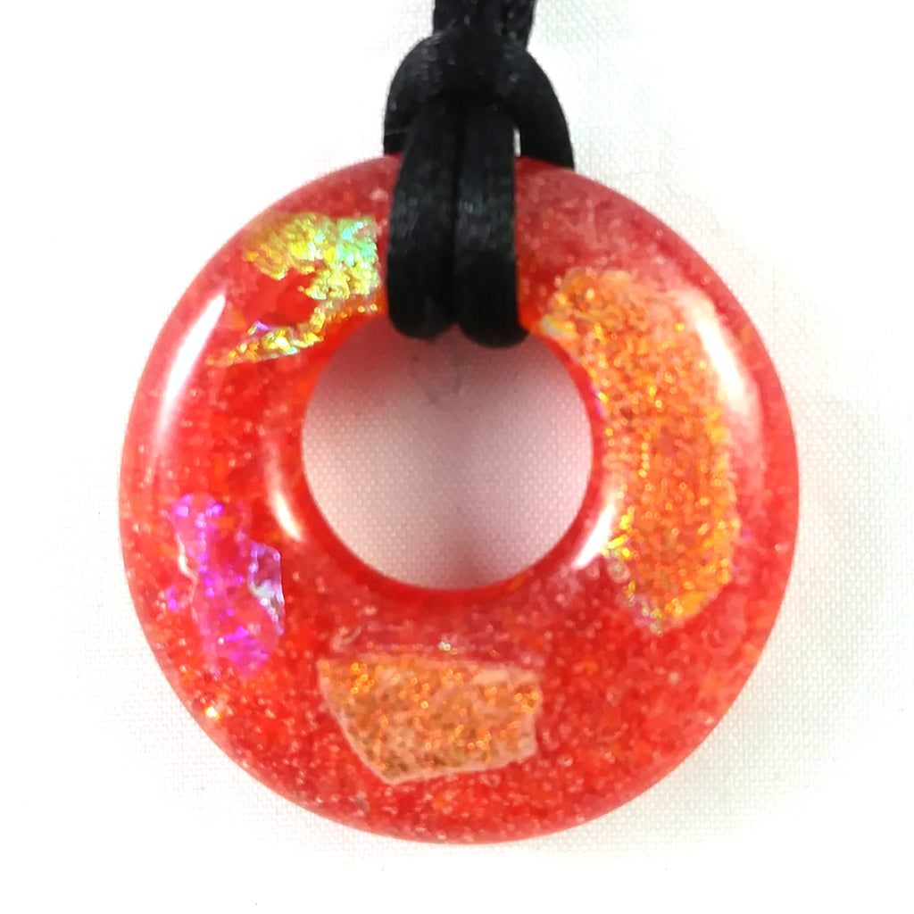 Handmade Art Glass Hoop Pendant, Orange and Rainbow Dichroic