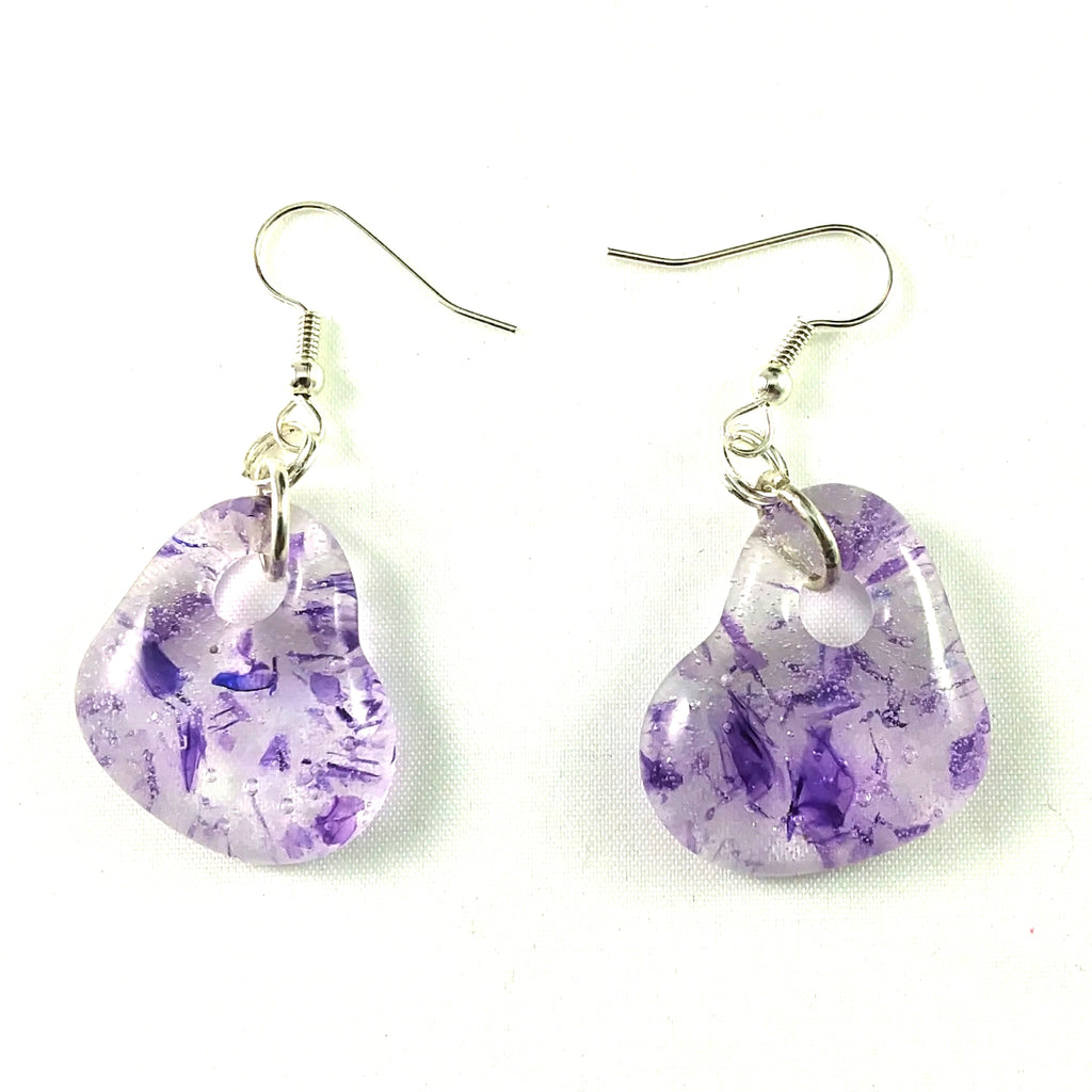 Handmade Art Glass Heart Earrings, Purple, Valentine Gift
