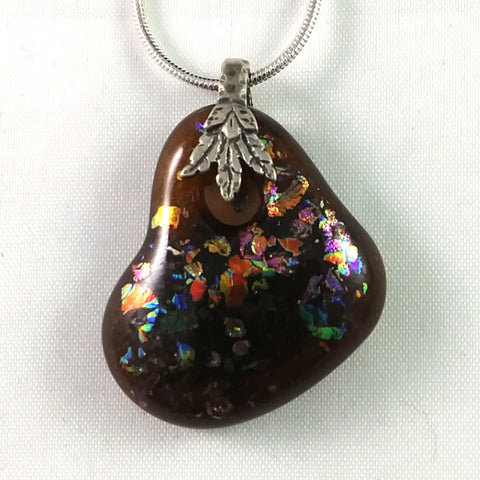 Handmade Art Glass Small Heart Jewelry Pendant, Amber and Rainbow Dichroic Glass, Fall, Valentine Gift