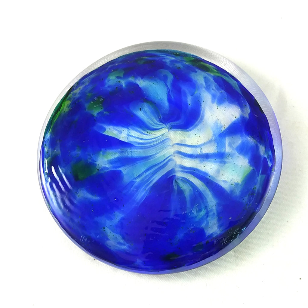 Art Glass Rondel for Stained Glass Work, Blue and Green, 2.75""