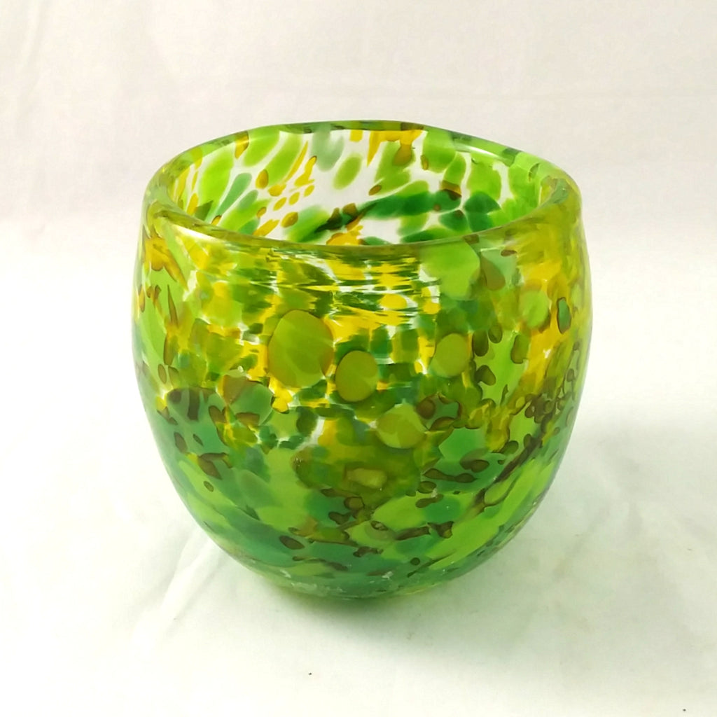 Handmade Art Glass Candle Holder, Mixed Greens, Fall Gift