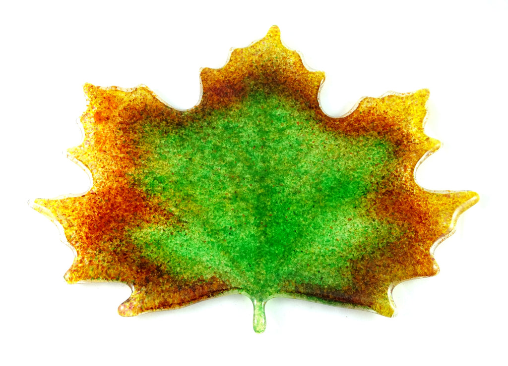 Large Art Glass Fall Maple Leaf, Green, Orange, Red, Amber, Yellow, Great Mother's Day Gift
