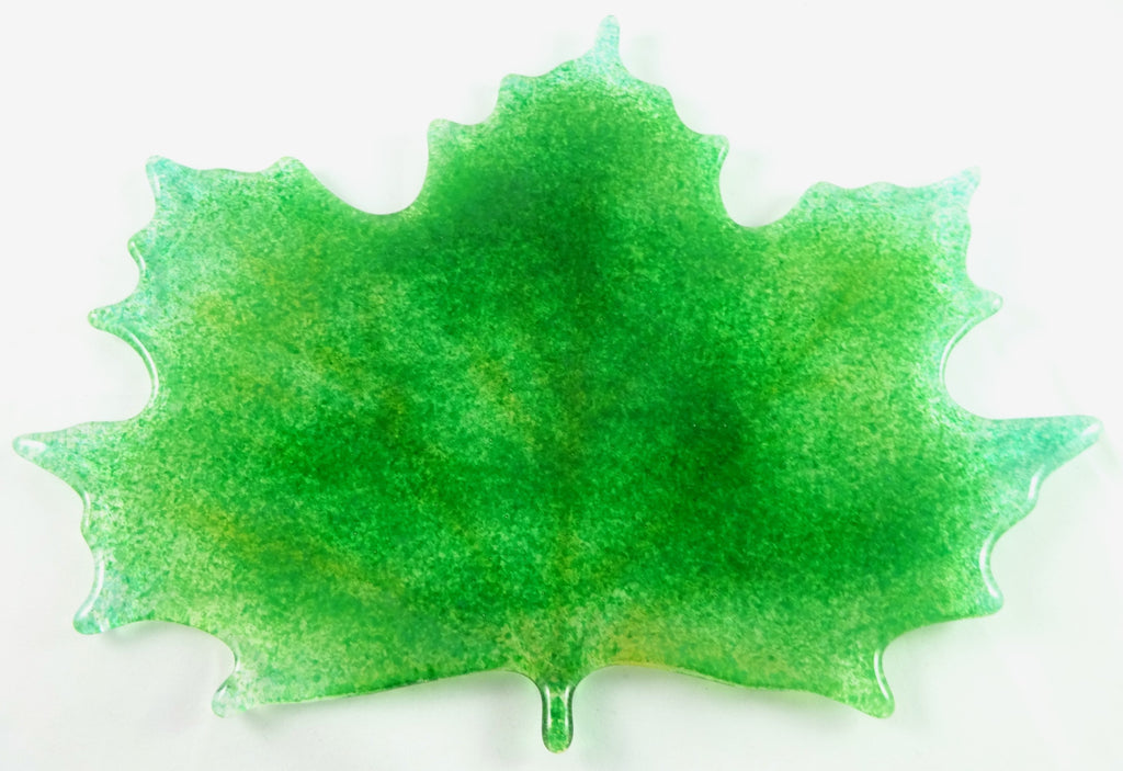 Large Art Glass Spring / Fall Maple Leaf, Green, Mother's Day Gift