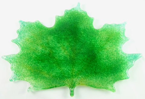 Large Art Glass Spring / Fall Maple Leaf, Green