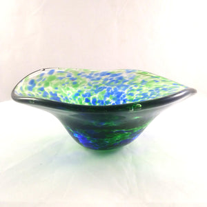 Handmade Art Glass Bowl, Blue and Green, Small, Mother's Day Gift