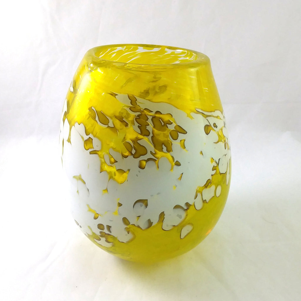 Handmade Art Glass Vase, Yellow and White, Spring Gift