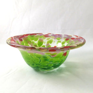 Handmade Art Glass Bowl, Multi Flower Color, Small, Mother's Day Gift