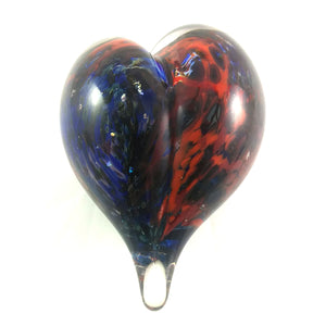Handmade Art Glass Heart Paperweight, Mixed Colors, Mother's Day Gift