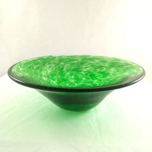 Handmade Art Glass Bowl, Green and Round, Mother's Day Gift