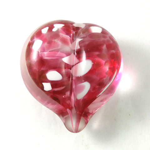 Handmade Art Glass Heart Paperweight, Pink and White, Spring Gift, Mother's Day Gift