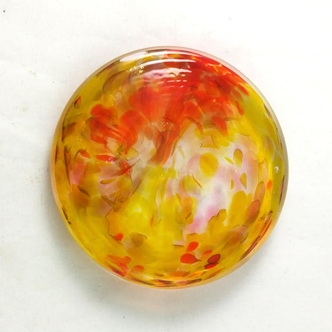Art Glass Rondel for Stained Glass Work, Orange Pink Yellow, 2.5""