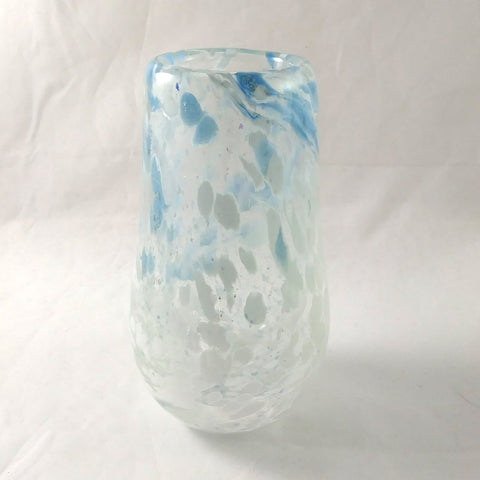 Handmade Art Glass Vase, Blue and White, Mothers Day Gift