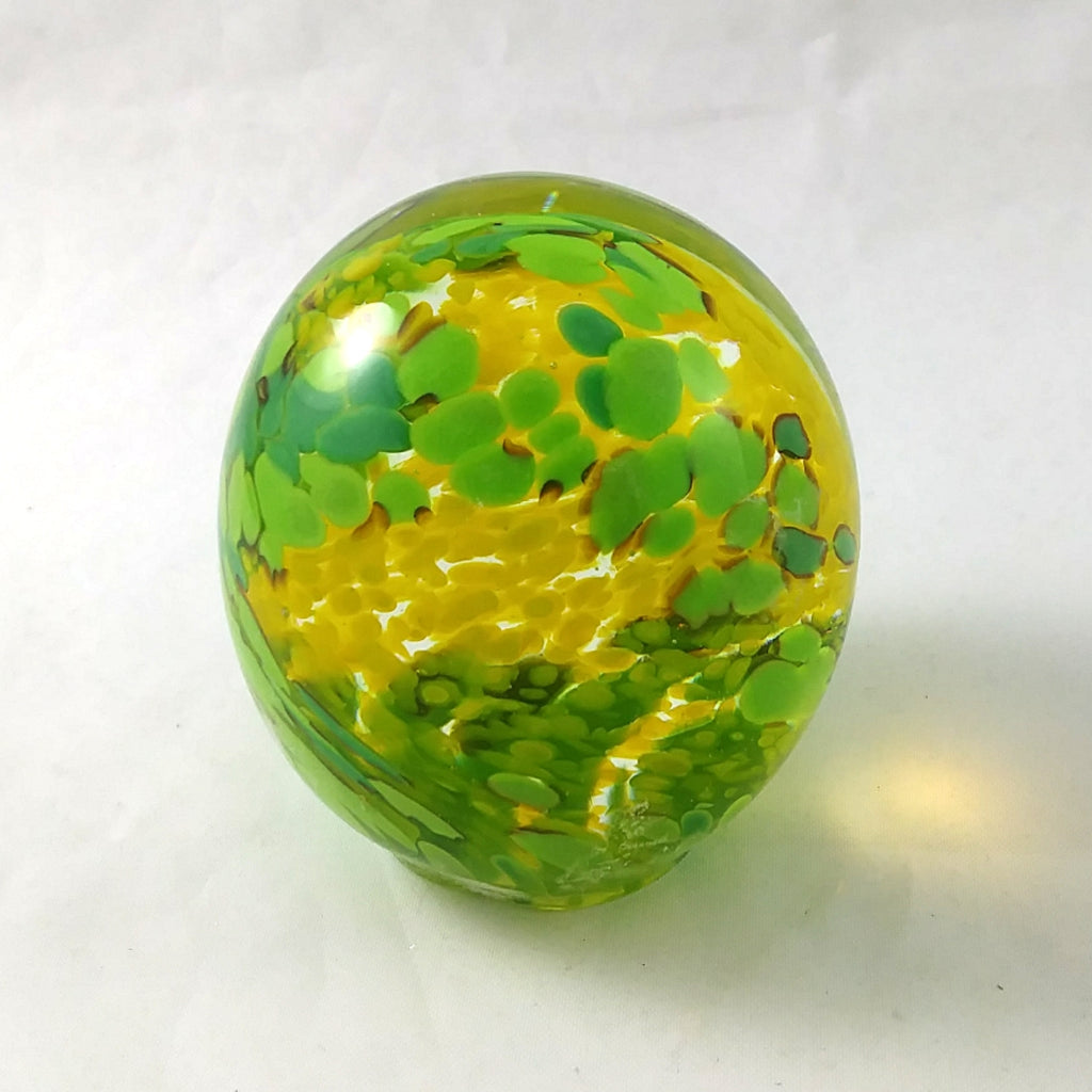 Handmade Art Glass Easter Egg Paperweight, Mixed Greens and Yellow