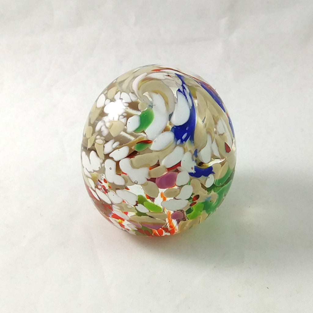 Handmade Art Glass Easter Egg Paperweight, Multi Color