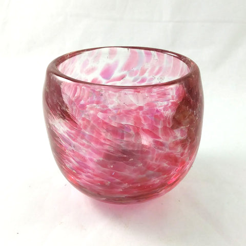 Handmade Art Glass Candle Holder, Ruby Red and Rainbow Dichroic, Mothers Day Gift