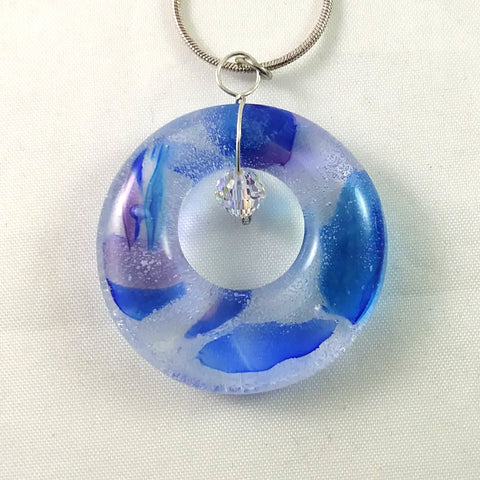 Handmade Glass Hoop Pendant, Recycled Blues Purple and Crystal, Wire Wrapped, Design By, Mother's Day Gift