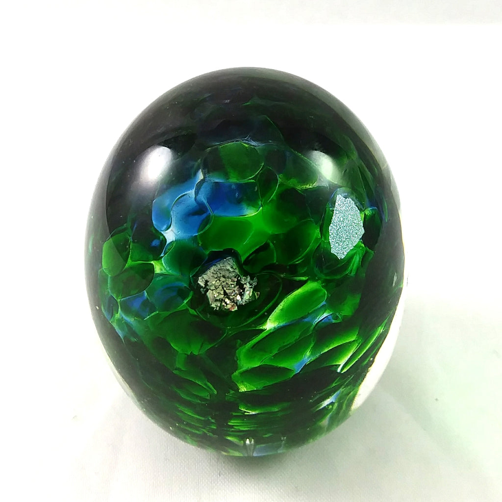 Handmade Art Glass Easter Egg Paperweight, Green Blue and Dichroic