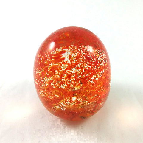 Handmade Art Glass Easter Egg Paperweight, Orange and Red