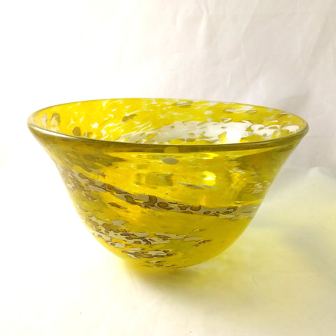 Handmade Art Glass Bowl, Yellow and White, Large, Spring, Mother's Day Gift