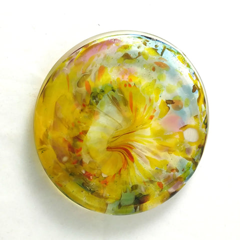 Art Glass Rondel for Stained Glass Work, Yellow and Mixed, 3""