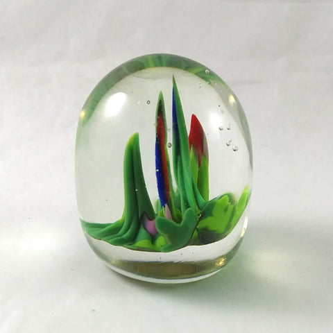 Handmade Art Glass Easter Egg Paperweight, Alien Landscape