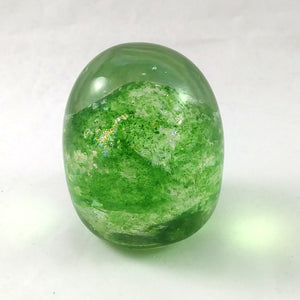 Handmade Art Glass Easter Egg Paperweight, Green and Rainbow Dichroic