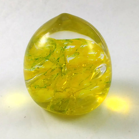Handmade Art Glass Easter Egg Paperweight, Yellow, Small