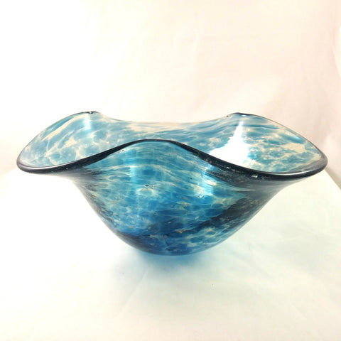 Handmade Art Glass Wavy Bowl, Aquamarine and Rainbow Dichroic, Large, Spring, Mother's Day Gift