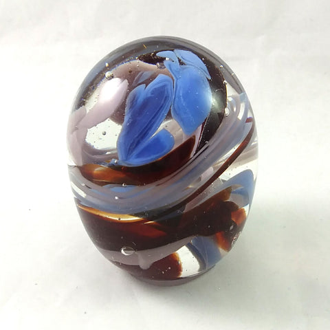 Handmade Art Glass Easter Egg Paperweight, Blue Pink and Red, Large