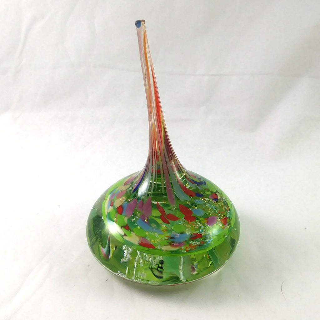 Handmade Art Glass Ring Holder, Spring Colors with Rainbow Dichroic, Large, Mothers Day Gift
