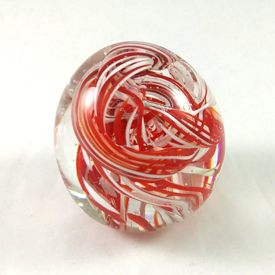 Handmade Art Glass Easter Egg Paperweight, Red and White