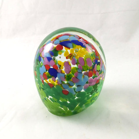 Handmade Art Glass Easter Egg Paperweight, Spring Theme, Large