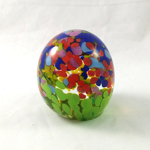 Handmade Art Glass Easter Egg Paperweight, Spring Themed