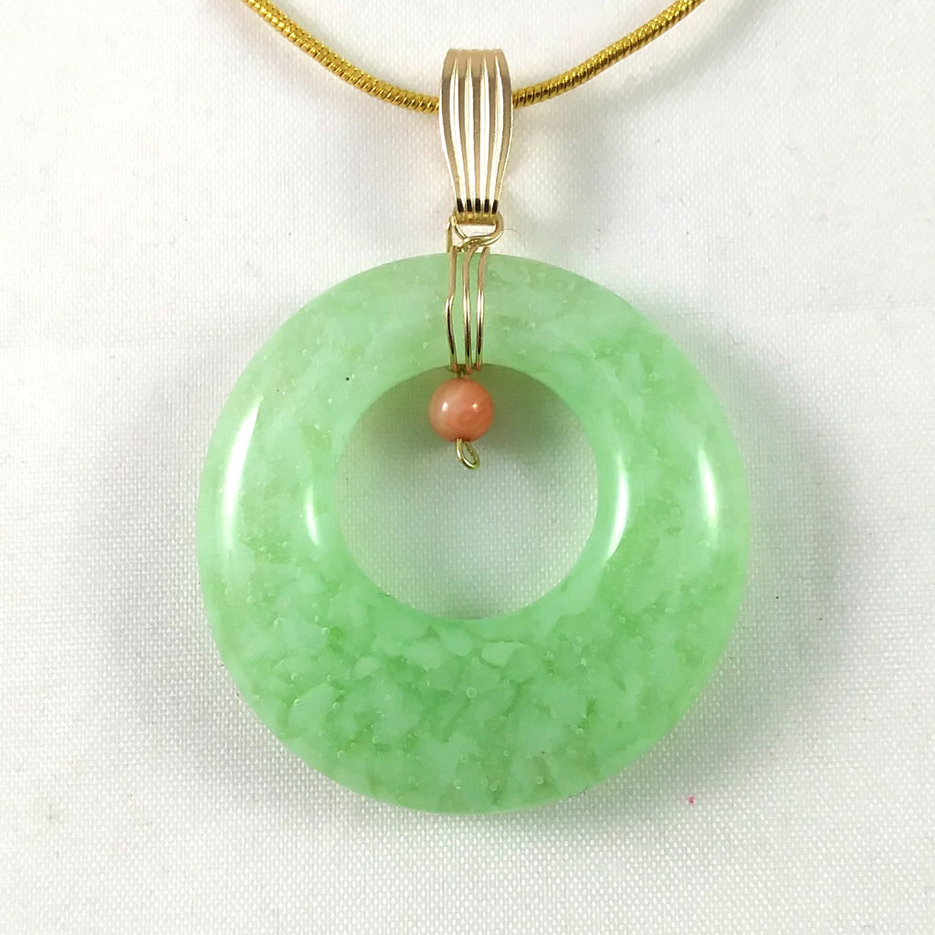 Handmade Glass Hoop Pendant, Green and Rose Quartz, Wire Wrapped, Design By, Mother's Day Gift
