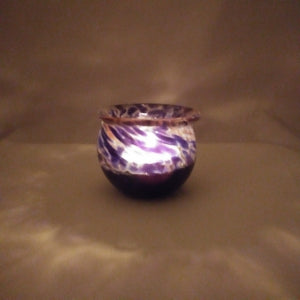 Handmade Art Glass Candle Holder, Purple, Mother's Day Gift
