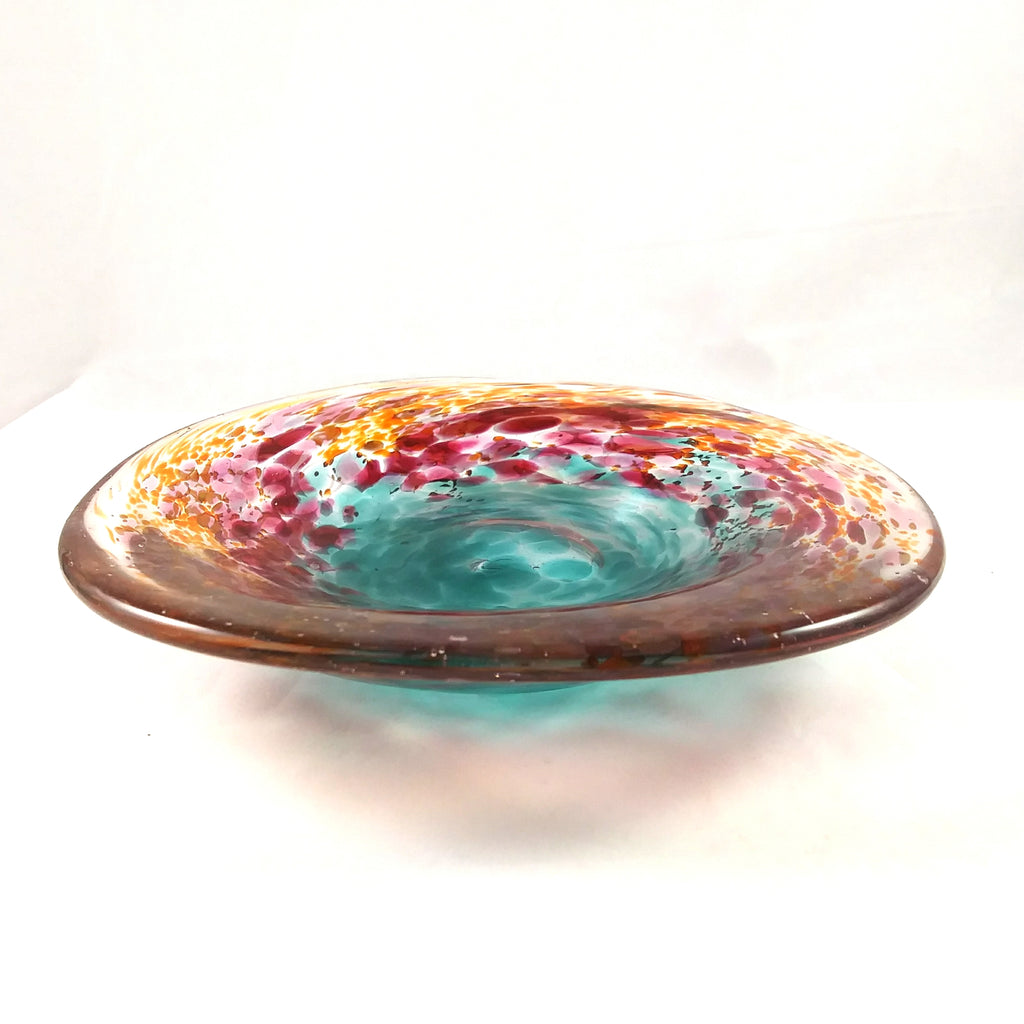 Handmade Mixed Color Free Form Art Glass Candy Dish
