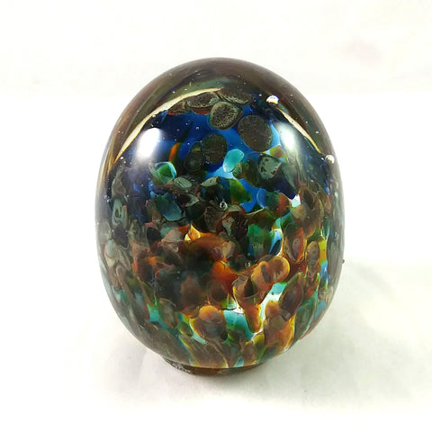 Handmade Art Glass Easter Egg Paperweight, Blue Turquoise Green Orange, Discounted