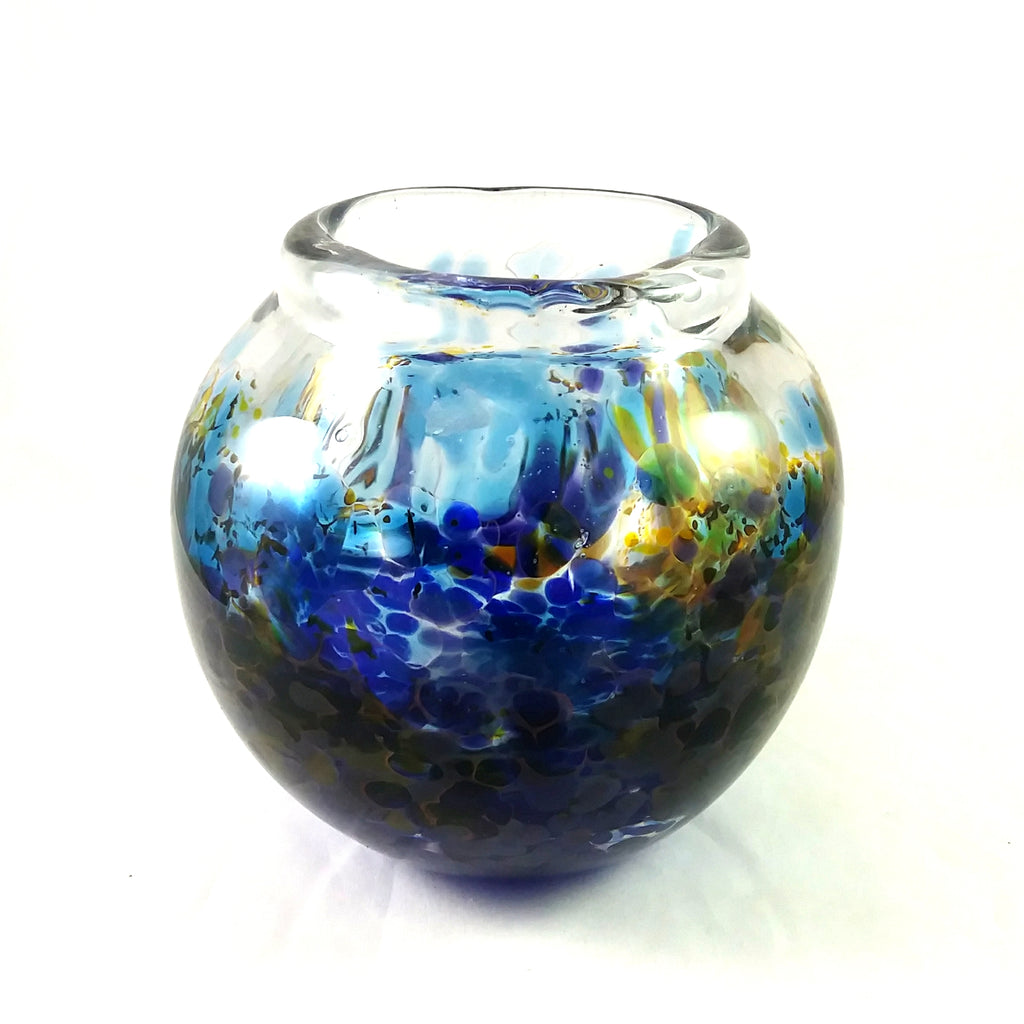 Handmade Glass Vase, Blue, Orange, Purple, SECOND