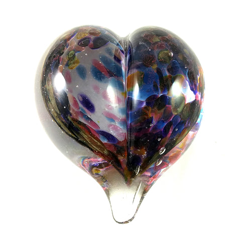 Handmade Art Glass Heart Paperweight, Blue, Pink, Purple and Orange, SECOND