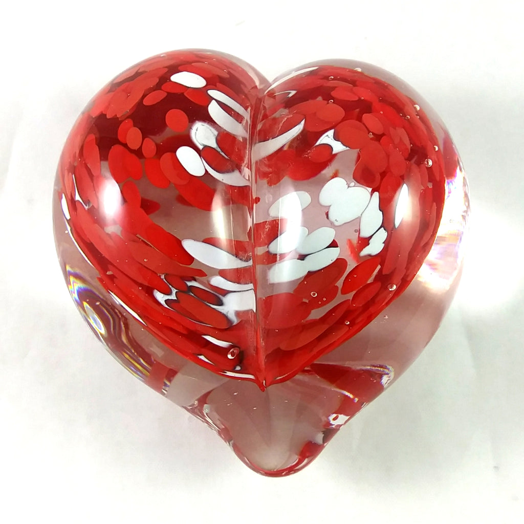 Handmade Art Glass Heart Paperweight, Red and White, Mother's Day Gift, Christmas Gift