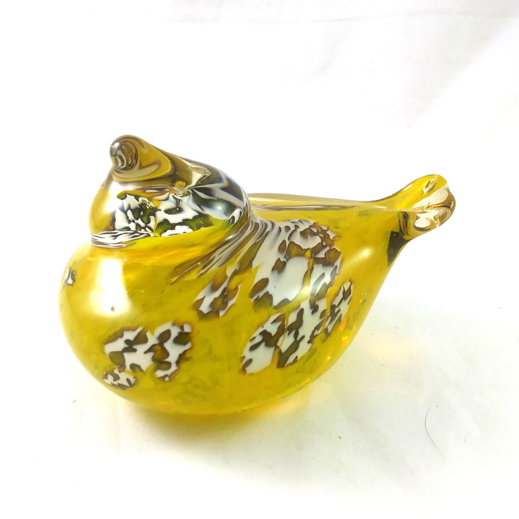 Handmade Art Glass Bird Paperweight, Yellow and White, Medium