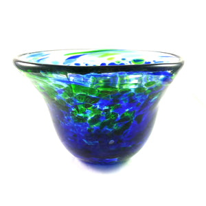 Handmade Art Glass Bowl, Blue, Green and Pure Gold, SECOND