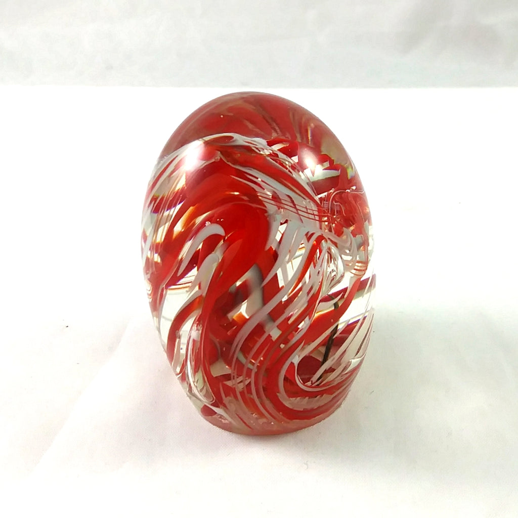 Handmade Art Glass Easter Egg Paperweight, Red and Pale Blue