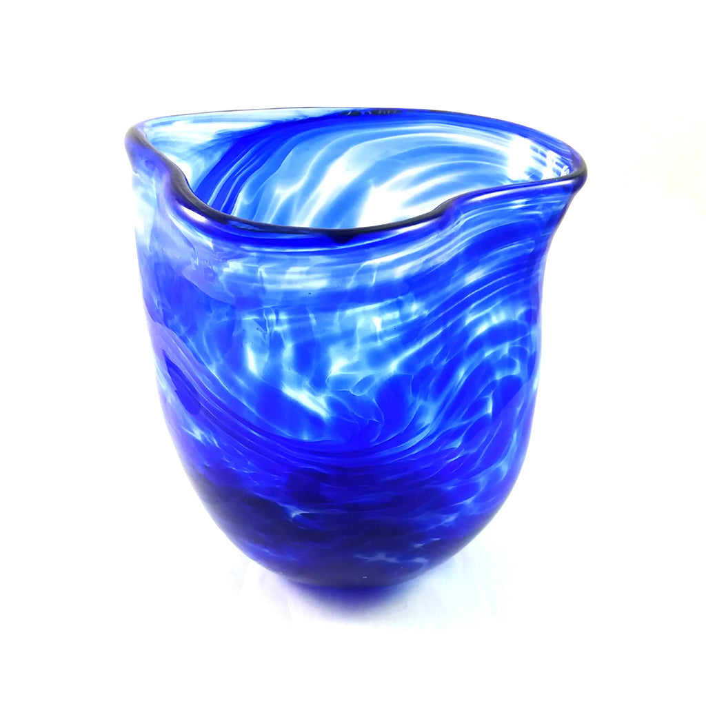 Handmade Glass Vase, Cobalt Blue, Medium