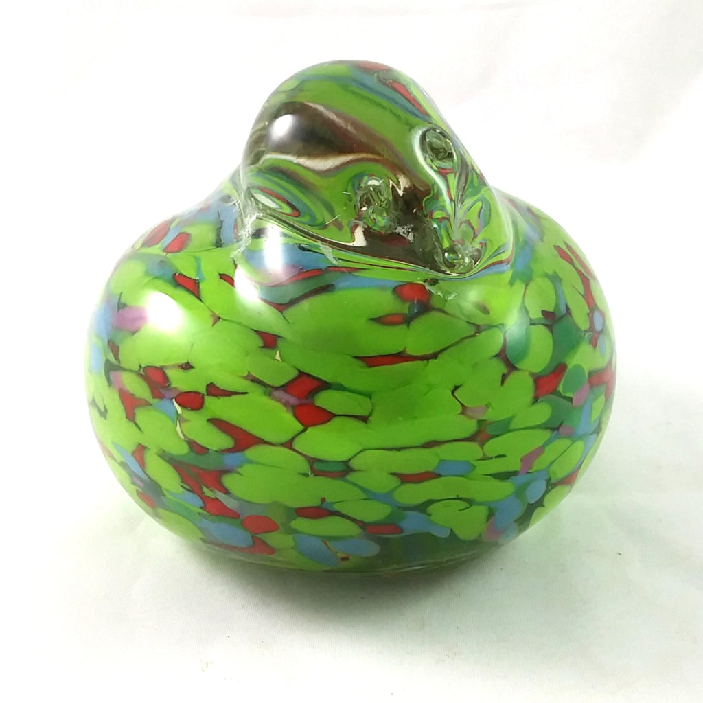 Handmade Art Glass Bird Paperweight, Green, Multi Color, Large