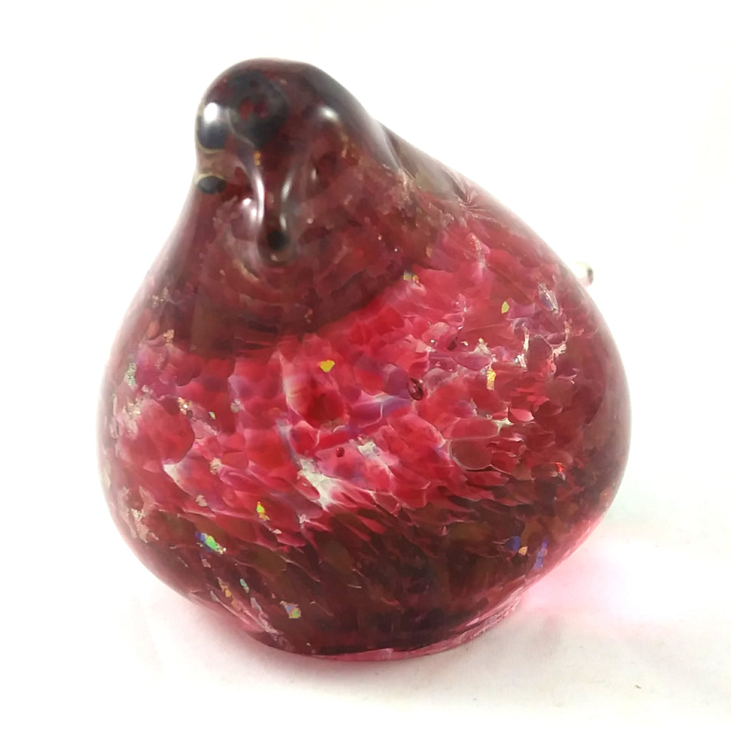Handmade Art Glass Bird Paperweight, Red and Rainbow Dichroic, Medium