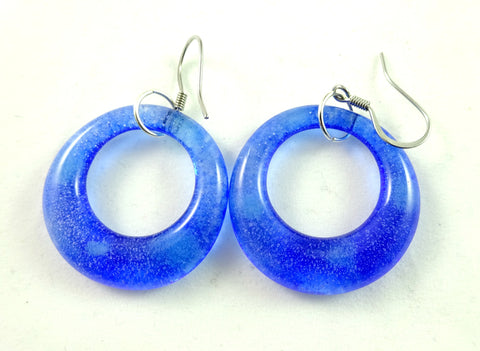 Handmade Blue and Glow in the Dark Glass Hoop Earrings