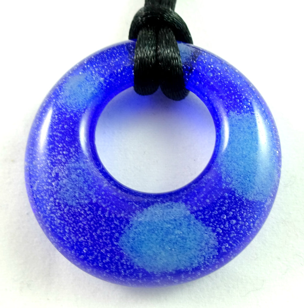 Handmade Art Glass Blue and Glow in the Dark Hoop Jewelry Pendant
