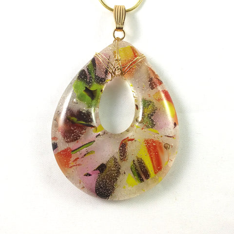 Handmade Glass Teardrop Pendant, Warm Colors, Wire Wrapped, Design By