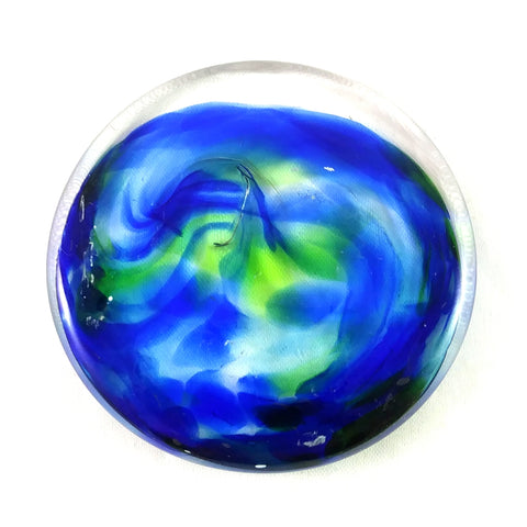 Rondel for Stained Glass Work, Blues and Greens, 2.25""